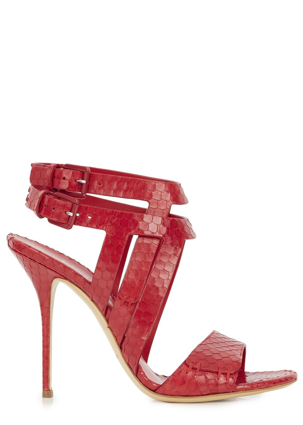 Red Python Effect Leather Sandals - occasions: evening, occasion; material: leather; heel height: high; ankle detail: ankle strap; heel: stiletto; toe: open toe/peeptoe; style: standard; finish: plain; pattern: animal print; predominant colour: raspberry; season: s/s 2014
