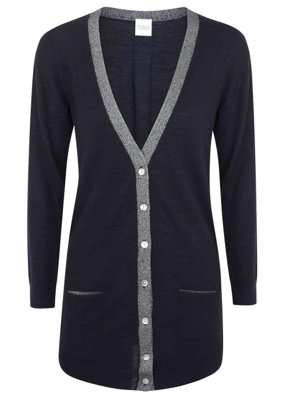 Navy Metallic Trimmed Cashmere Cardigan - neckline: plunge; length: below the bottom; hip detail: front pockets at hip; predominant colour: navy; secondary colour: silver; occasions: casual, creative work; style: standard; fit: standard fit; fibres: cashmere - 100%; sleeve length: long sleeve; sleeve style: standard; texture group: knits/crochet; pattern type: knitted - fine stitch; pattern size: standard; pattern: colourblock; trends: shimmery metallics; season: s/s 2014