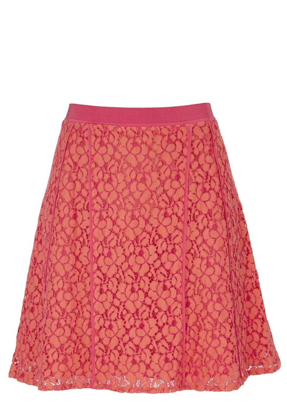 Luna Orange And Pink Lace Skirt - length: mid thigh; fit: loose/voluminous; waist detail: elasticated waist; waist: high rise; predominant colour: bright orange; occasions: casual, creative work; style: a-line; fibres: cotton - mix; hip detail: subtle/flattering hip detail; texture group: lace; pattern type: fabric; pattern: patterned/print; embellishment: lace; season: s/s 2014; wardrobe: highlight; embellishment location: all over