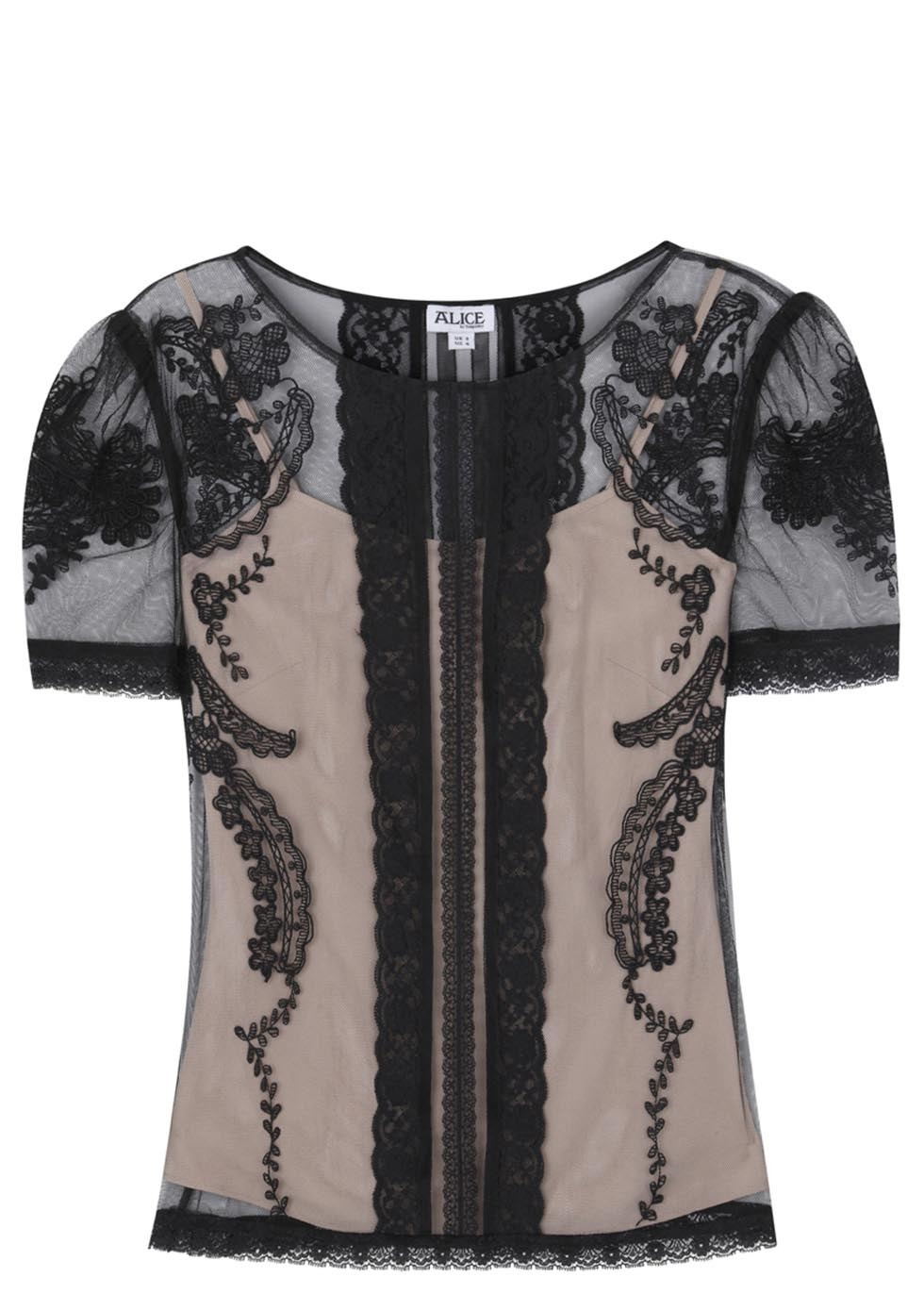Black Botanical Lace Top - neckline: round neck; pattern: plain; secondary colour: nude; predominant colour: black; occasions: evening, creative work; length: standard; style: top; fibres: polyester/polyamide - 100%; fit: straight cut; sleeve length: short sleeve; sleeve style: standard; texture group: sheer fabrics/chiffon/organza etc.; pattern type: fabric; trends: lace; season: s/s 2014