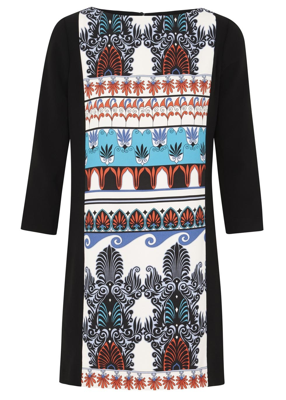 Black Printed Crepe Mini Dress Size - style: shift; length: mini; neckline: slash/boat neckline; secondary colour: white; predominant colour: black; occasions: casual; fit: soft a-line; fibres: polyester/polyamide - 100%; back detail: keyhole/peephole detail at back; sleeve length: 3/4 length; sleeve style: standard; texture group: crepes; pattern type: fabric; pattern size: big & busy; pattern: patterned/print; season: s/s 2014