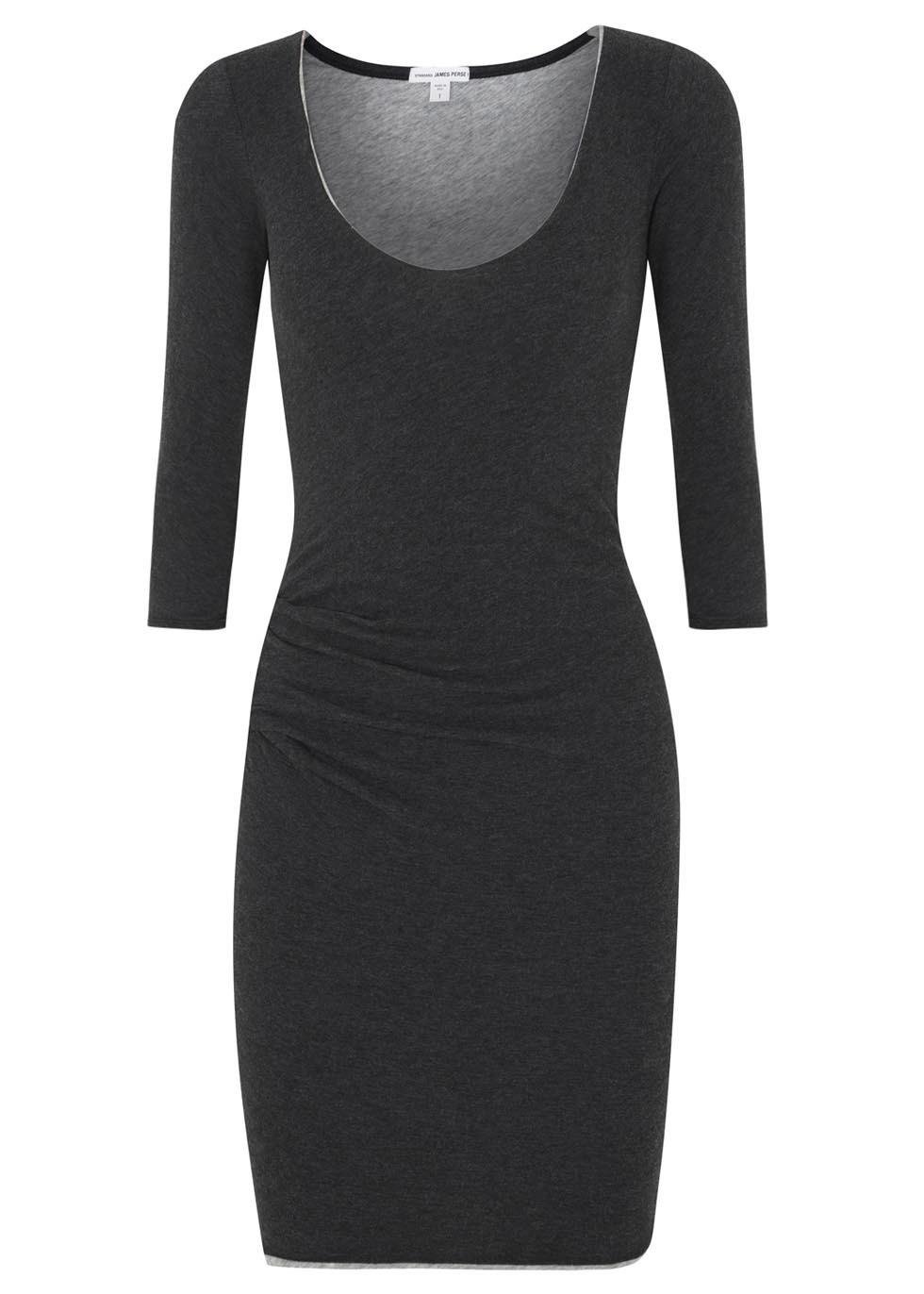 Grey Gathered Jersey Dress - length: mid thigh; fit: tight; pattern: plain; style: bodycon; predominant colour: charcoal; secondary colour: mid grey; occasions: casual, creative work; neckline: scoop; fibres: cotton - mix; hip detail: ruching/gathering at hip; sleeve length: half sleeve; sleeve style: standard; texture group: jersey - clingy; pattern type: fabric; season: s/s 2014