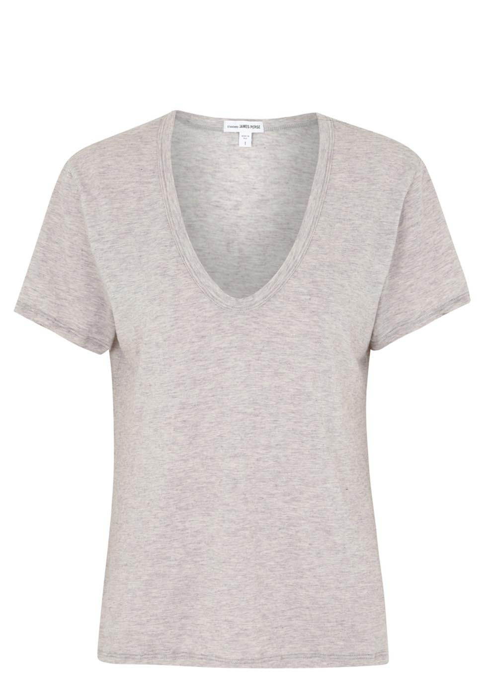Grey Cotton And Cashmere Blend T Shirt - neckline: low v-neck; pattern: plain; style: t-shirt; predominant colour: light grey; occasions: casual, creative work; length: standard; fibres: cotton - mix; fit: body skimming; sleeve length: short sleeve; sleeve style: standard; texture group: jersey - stretchy/drapey; season: s/s 2014