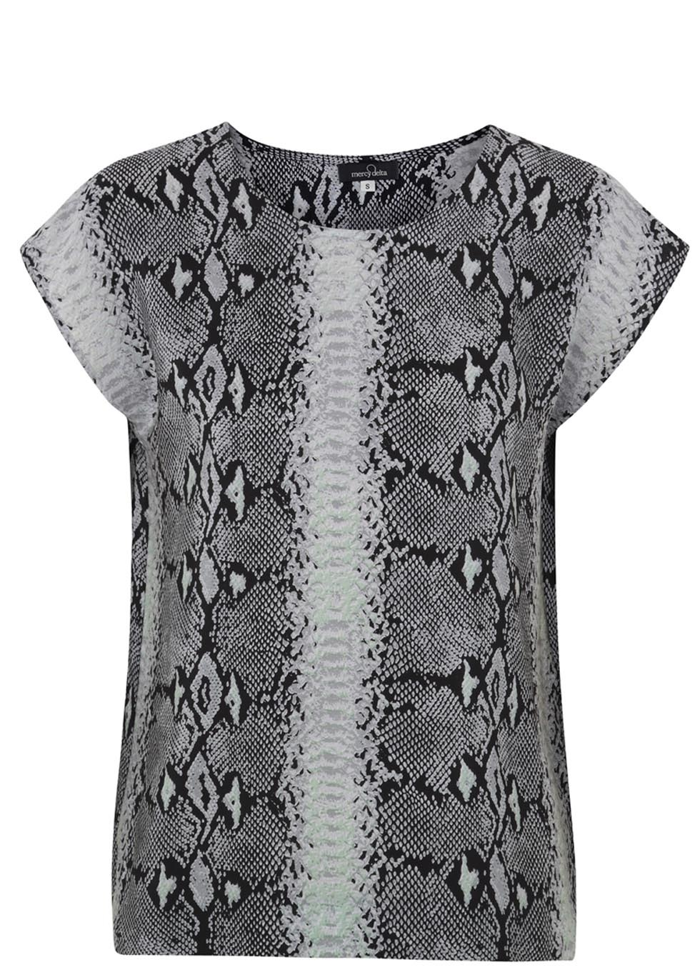 Blair Grey Print Silk Top - neckline: round neck; style: t-shirt; predominant colour: charcoal; secondary colour: mid grey; occasions: casual, creative work; length: standard; fibres: silk - 100%; fit: straight cut; sleeve length: short sleeve; sleeve style: standard; texture group: silky - light; pattern type: fabric; pattern: animal print; trends: world traveller; season: s/s 2014; pattern size: big & busy (top)