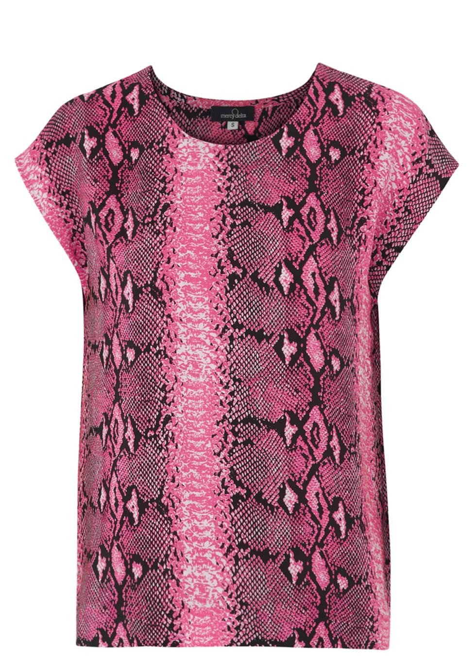 Blair Pink Print Silk Top Size - neckline: round neck; sleeve style: capped; style: t-shirt; secondary colour: aubergine; occasions: casual, creative work; length: standard; fibres: silk - 100%; fit: straight cut; sleeve length: short sleeve; texture group: silky - light; pattern type: fabric; pattern size: standard; pattern: animal print; predominant colour: dusky pink; season: s/s 2014