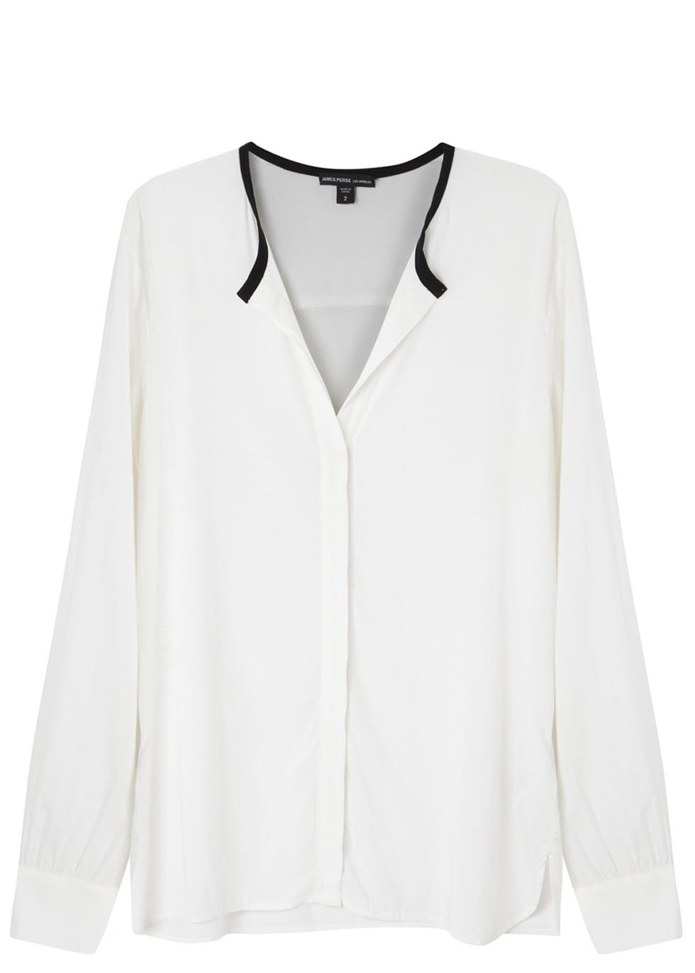 Monochrome Oversized Blouse - neckline: v-neck; length: below the bottom; style: blouse; predominant colour: ivory/cream; secondary colour: black; occasions: casual, work, creative work; fibres: viscose/rayon - stretch; fit: loose; sleeve length: long sleeve; sleeve style: standard; pattern type: fabric; pattern size: standard; pattern: colourblock; texture group: other - light to midweight; season: s/s 2014; trends: monochrome