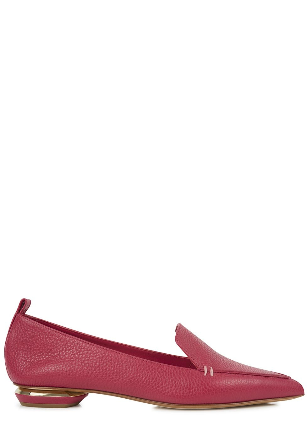 Dark Pink Pointed Leather Loafers - occasions: casual, work, creative work; material: leather; heel height: flat; toe: pointed toe; style: loafers; finish: plain; pattern: plain; embellishment: chain/metal; predominant colour: dusky pink; season: s/s 2014