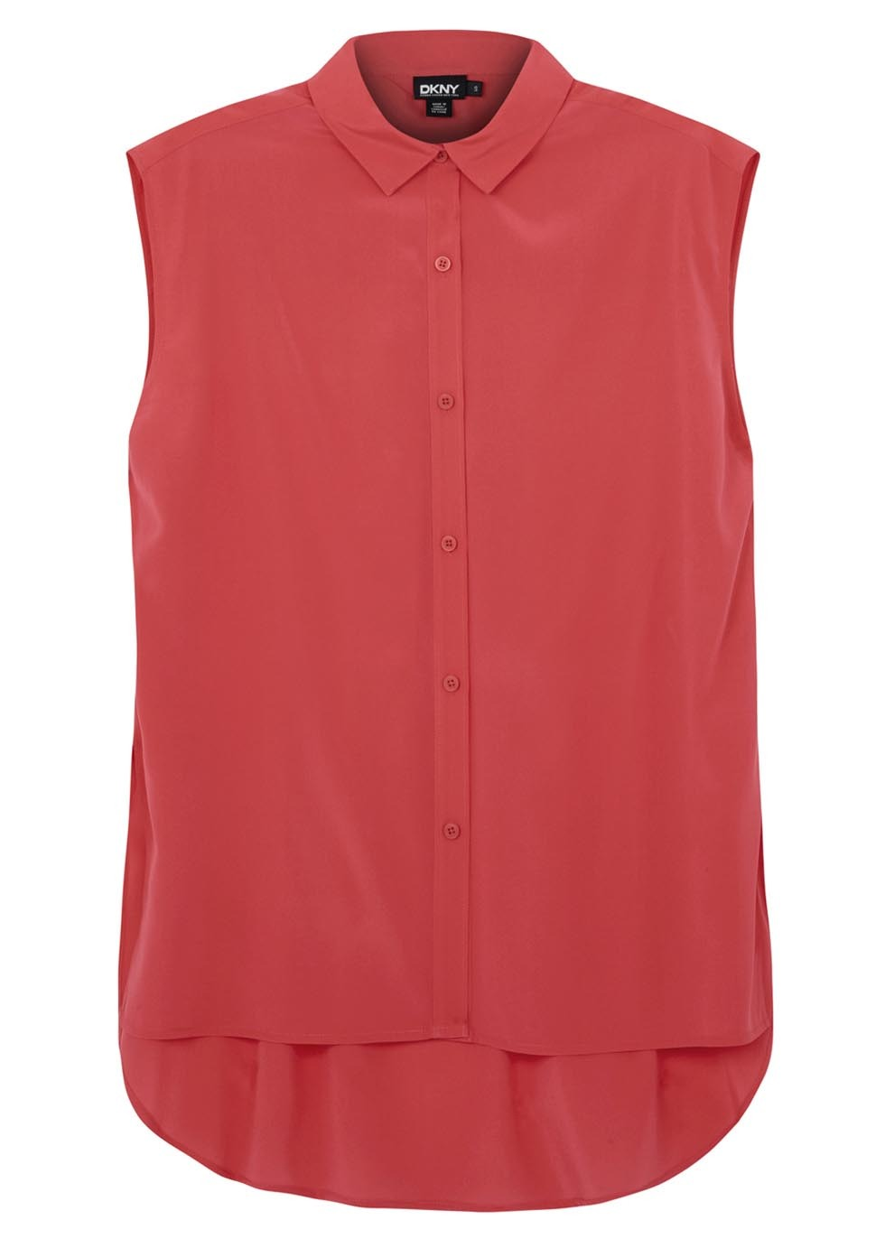 Bright Pink Sleeveless Stretch Silk Blouse - neckline: shirt collar/peter pan/zip with opening; pattern: plain; sleeve style: sleeveless; style: shirt; predominant colour: hot pink; occasions: casual, creative work; length: standard; fibres: silk - mix; fit: straight cut; back detail: longer hem at back than at front; sleeve length: sleeveless; texture group: silky - light; pattern type: fabric; season: s/s 2014