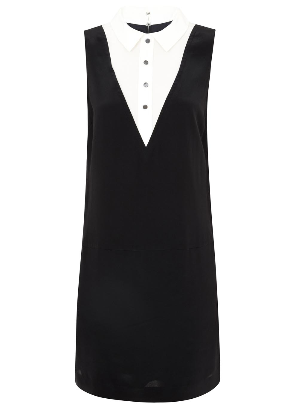 Monochrome Tuxedo Style Silk Dress - style: shift; length: mid thigh; neckline: shirt collar/peter pan/zip with opening; secondary colour: white; predominant colour: black; occasions: evening, creative work; fit: soft a-line; fibres: silk - 100%; sleeve length: sleeveless; sleeve style: standard; texture group: crepes; pattern type: fabric; pattern: colourblock; season: s/s 2014; trends: monochrome