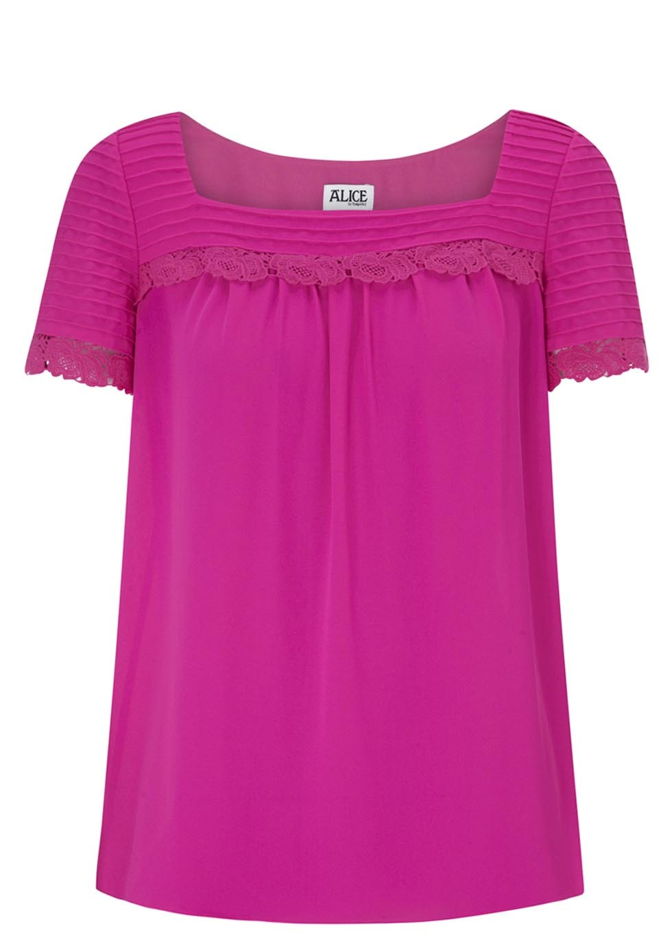 Mina Hot Pink Crepe Top - pattern: plain; bust detail: ruching/gathering/draping/layers/pintuck pleats at bust; predominant colour: magenta; occasions: casual, evening, creative work; length: standard; style: top; fibres: polyester/polyamide - 100%; fit: straight cut; sleeve length: short sleeve; sleeve style: standard; texture group: crepes; neckline: medium square neck; pattern type: fabric; trends: hot brights; season: s/s 2014