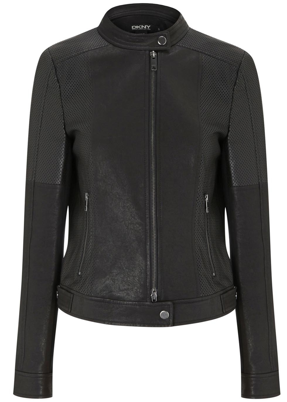 Black Perforated Leather Jacket - pattern: plain; collar: standard biker; fit: slim fit; style: bomber; predominant colour: black; occasions: casual, evening, creative work; length: standard; fibres: leather - 100%; sleeve length: long sleeve; sleeve style: standard; texture group: leather; collar break: high/illusion of break when open; pattern type: fabric; season: s/s 2014