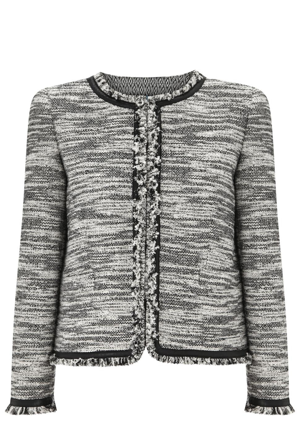 Kidman Monochrome Tweed Jacket Size - style: single breasted blazer; collar: round collar/collarless; pattern: herringbone/tweed; predominant colour: mid grey; secondary colour: black; occasions: casual, work, creative work; length: standard; fit: tailored/fitted; fibres: cotton - 100%; sleeve length: long sleeve; sleeve style: standard; collar break: high; pattern type: fabric; texture group: tweed - light/midweight; season: s/s 2014