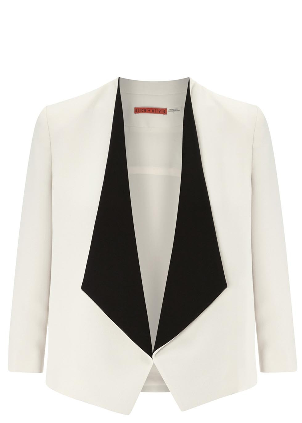 Oliver Monochrome Crepe Blazer - style: single breasted tuxedo; collar: shawl/waterfall; predominant colour: white; secondary colour: black; occasions: evening, occasion; length: standard; fit: straight cut (boxy); fibres: polyester/polyamide - mix; back detail: shorter hem at back than at front; sleeve length: 3/4 length; sleeve style: standard; texture group: crepes; collar break: low/open; pattern type: fabric; pattern: colourblock; season: s/s 2014; trends: monochrome; pattern size: big & busy (top)