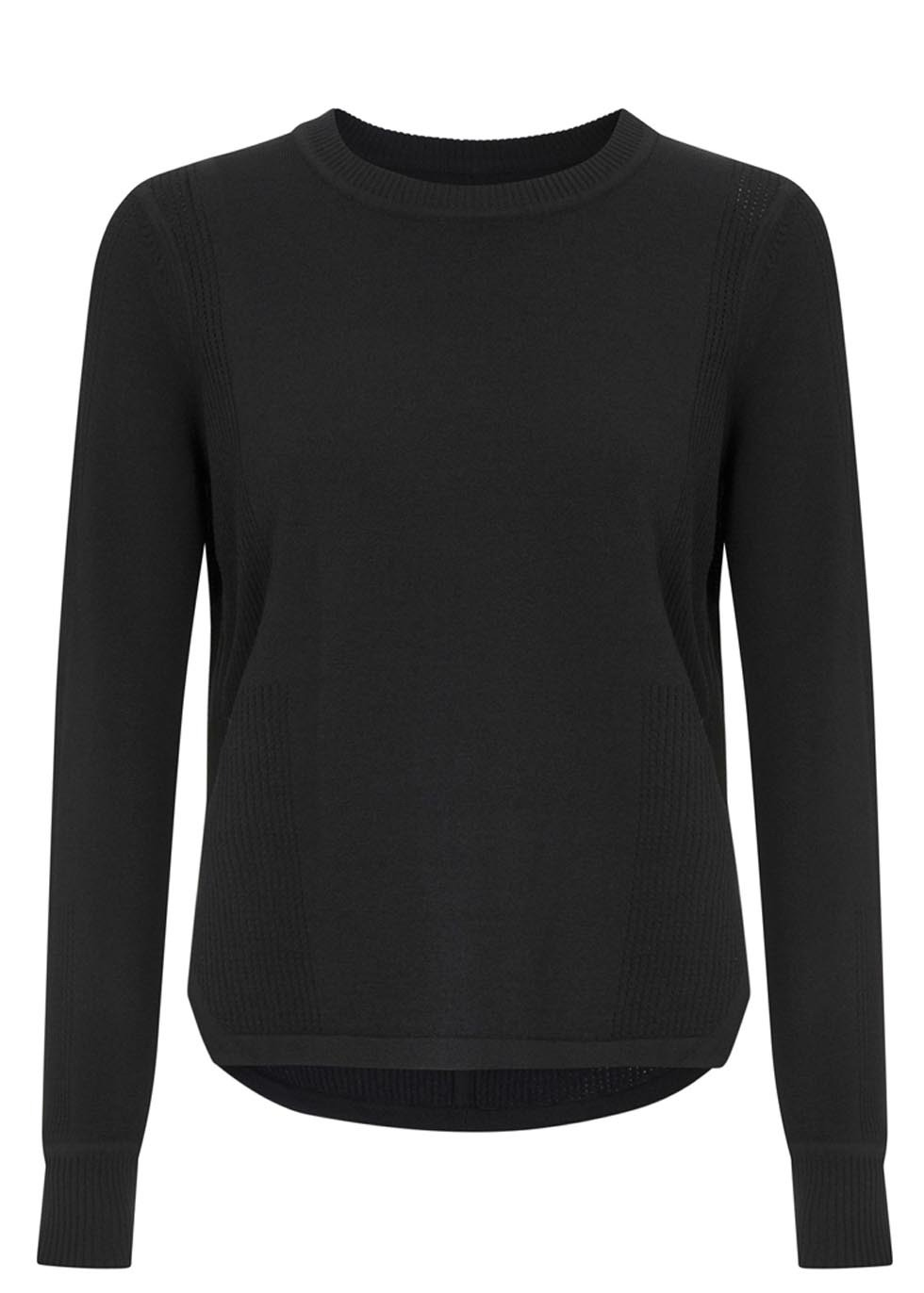 Ellen Black Perforated Stretch Jersey Top - pattern: plain; style: t-shirt; predominant colour: black; occasions: casual, creative work; length: standard; fibres: viscose/rayon - stretch; fit: straight cut; neckline: crew; back detail: longer hem at back than at front; sleeve length: long sleeve; sleeve style: standard; pattern type: fabric; texture group: jersey - stretchy/drapey; season: s/s 2014