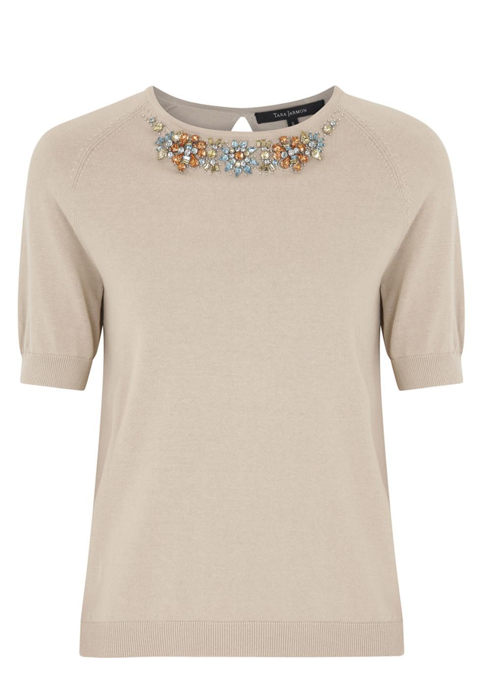 Crystal Embellished Cotton Top - neckline: round neck; pattern: plain; predominant colour: stone; occasions: casual, evening, creative work; length: standard; style: top; fibres: cotton - 100%; fit: body skimming; sleeve length: short sleeve; sleeve style: standard; texture group: knits/crochet; pattern type: knitted - fine stitch; embellishment: jewels/stone; season: s/s 2014; wardrobe: highlight; embellishment location: neck