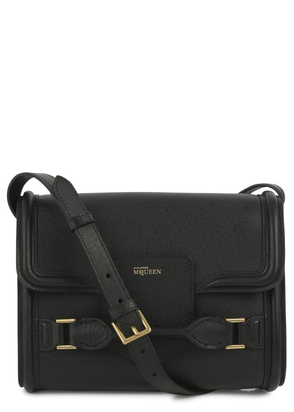 Heroine Black Leather Cross Body Bag - predominant colour: black; occasions: casual, work, creative work; style: satchel; length: across body/long; size: standard; material: leather; pattern: plain; finish: plain; embellishment: buckles; season: s/s 2014