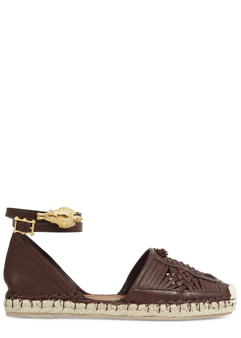 Chocolate Leather Espadrilles Size - predominant colour: chocolate brown; secondary colour: gold; occasions: casual, holiday; material: leather; heel height: flat; ankle detail: ankle strap; toe: round toe; finish: plain; pattern: plain; embellishment: chain/metal; style: espadrilles; season: s/s 2014