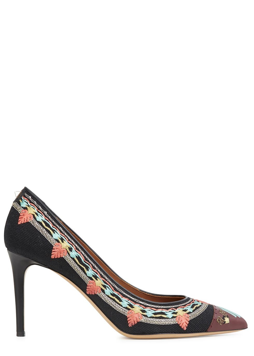 Embroidered Canvas Pumps - occasions: occasion, creative work; predominant colour: multicoloured; material: leather; embellishment: embroidered; heel: stiletto; toe: pointed toe; style: courts; finish: plain; pattern: patterned/print; heel height: very high; season: s/s 2014; multicoloured: multicoloured