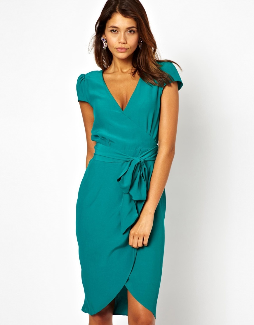 Midi Wrap Tulip Dress Green - style: faux wrap/wrap; neckline: low v-neck; pattern: plain; waist detail: belted waist/tie at waist/drawstring; predominant colour: mint green; occasions: evening, occasion; length: just above the knee; fit: body skimming; fibres: viscose/rayon - 100%; sleeve length: short sleeve; sleeve style: standard; pattern type: fabric; texture group: jersey - stretchy/drapey; season: s/s 2014