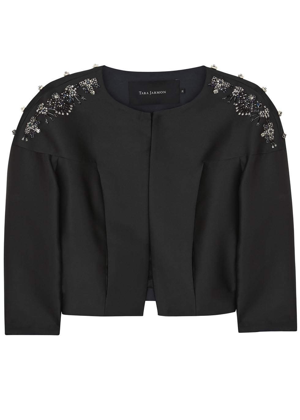 Black Embellished Satin Twill Jacket - pattern: plain; collar: round collar/collarless; style: boxy; predominant colour: black; occasions: evening, occasion; fit: straight cut (boxy); fibres: polyester/polyamide - mix; shoulder detail: added shoulder detail; sleeve length: 3/4 length; sleeve style: standard; texture group: structured shiny - satin/tafetta/silk etc.; collar break: high; pattern type: fabric; embellishment: beading; season: s/s 2014; length: cropped