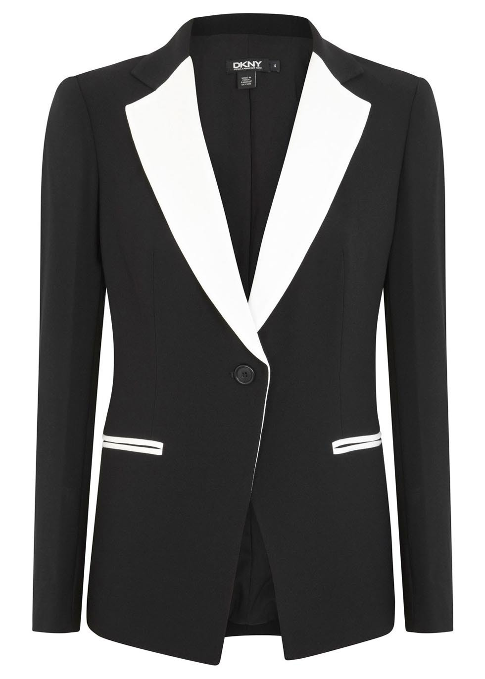 Monochrome Crepe Blazer - style: single breasted blazer; collar: standard lapel/rever collar; secondary colour: white; predominant colour: black; occasions: evening, work, creative work; length: standard; fit: tailored/fitted; fibres: acrylic - mix; sleeve length: long sleeve; sleeve style: standard; texture group: crepes; collar break: medium; pattern type: fabric; pattern size: standard; pattern: colourblock; season: s/s 2014; trends: monochrome