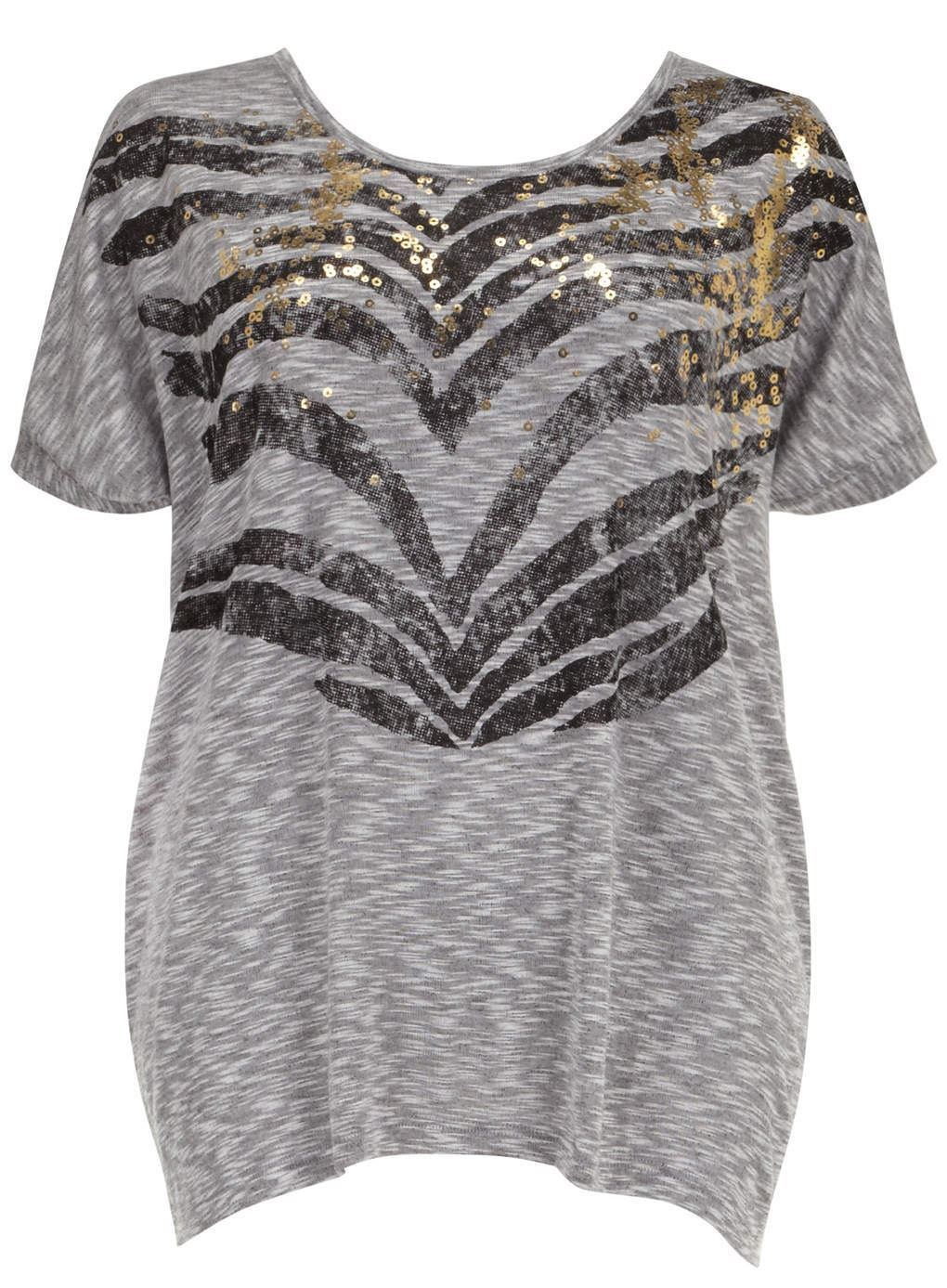Junarose Grey Zip Back Motif Top - neckline: round neck; length: below the bottom; style: t-shirt; secondary colour: mid grey; predominant colour: light grey; occasions: casual, creative work; fibres: polyester/polyamide - mix; fit: loose; sleeve length: short sleeve; sleeve style: standard; pattern type: fabric; pattern: patterned/print; texture group: jersey - stretchy/drapey; embellishment: sequins; season: s/s 2014; pattern size: big & busy (top)