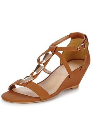 Jodie Mid Wedge Sandals, Tan - predominant colour: tan; occasions: casual; material: leather; heel height: mid; heel: wedge; toe: open toe/peeptoe; style: strappy; finish: plain; pattern: plain; season: s/s 2014