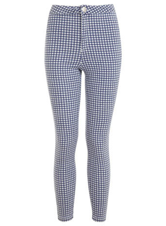 Gingham Super High Waist Jean - style: skinny leg; length: standard; pattern: checked/gingham; waist: high rise; pocket detail: traditional 5 pocket; predominant colour: navy; occasions: casual; fibres: cotton - stretch; texture group: denim; pattern type: fabric; season: s/s 2014; pattern size: big & busy (bottom)