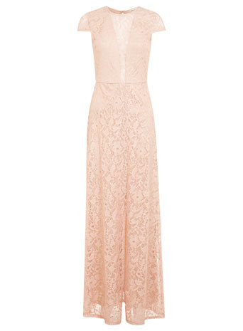 Pink And Gold Lace Maxi Dress - sleeve style: capped; style: maxi dress; bust detail: sheer at bust; predominant colour: nude; occasions: evening, occasion; length: floor length; fit: body skimming; fibres: nylon - mix; neckline: crew; sleeve length: short sleeve; texture group: lace; pattern type: fabric; pattern: patterned/print; trends: sorbet shades, lace; season: s/s 2014