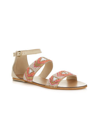 Fay Tribal Sandal - predominant colour: camel; occasions: casual, holiday; material: leather; heel height: flat; embellishment: beading; ankle detail: ankle strap; heel: block; toe: open toe/peeptoe; style: strappy; finish: plain; pattern: patterned/print; season: s/s 2014