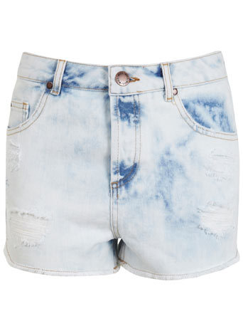 Bleach Wash Distressed Short - pattern: plain; pocket detail: large back pockets, pockets at the sides, traditional 5 pocket; waist: high rise; predominant colour: pale blue; occasions: casual, holiday; fibres: cotton - stretch; texture group: denim; pattern type: fabric; season: s/s 2014; style: denim; length: short shorts; fit: slim leg; wardrobe: holiday