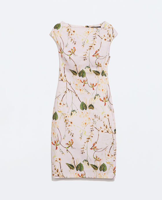 Printed Dress With Funnel Collar - style: shift; neckline: slash/boat neckline; sleeve style: capped; fit: tailored/fitted; predominant colour: white; secondary colour: terracotta; length: just above the knee; fibres: cotton - stretch; occasions: occasion, creative work; sleeve length: short sleeve; texture group: cotton feel fabrics; pattern type: fabric; pattern: patterned/print; season: s/s 2014