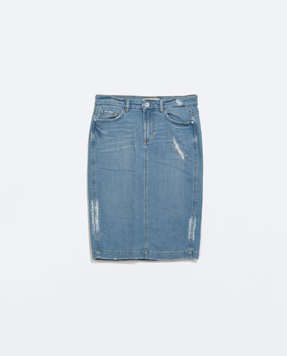 Ripped Denim Pencil Skirt - pattern: plain; style: pencil; fit: tailored/fitted; waist: mid/regular rise; predominant colour: denim; occasions: casual, creative work; length: on the knee; fibres: cotton - stretch; texture group: denim; season: s/s 2014