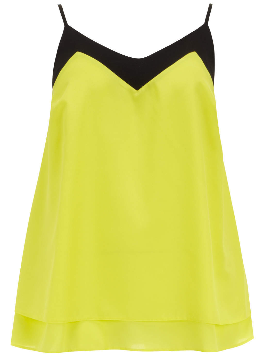 Yellow Neon Vest - neckline: low v-neck; sleeve style: spaghetti straps; length: below the bottom; style: vest top; predominant colour: yellow; secondary colour: black; occasions: casual, creative work; fibres: polyester/polyamide - 100%; fit: loose; sleeve length: sleeveless; texture group: silky - light; pattern type: fabric; pattern: colourblock; trends: hot brights; season: s/s 2014