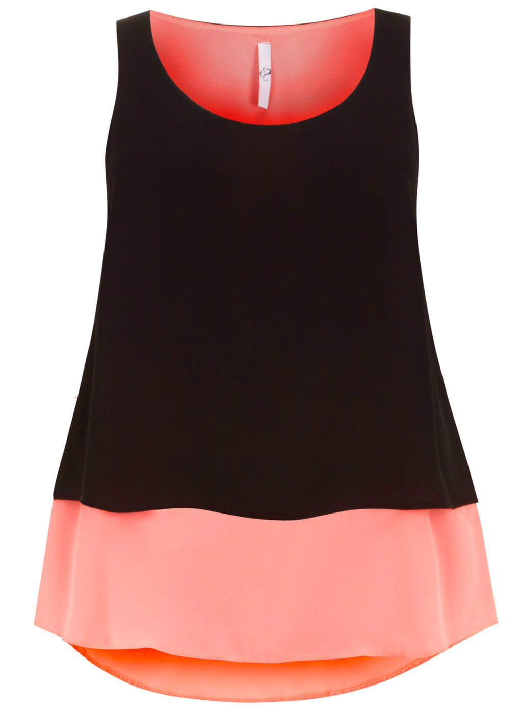 Black And Pink Layer Top - sleeve style: sleeveless; length: below the bottom; secondary colour: pink; predominant colour: black; occasions: casual, evening, creative work; style: top; neckline: scoop; fibres: polyester/polyamide - 100%; fit: loose; back detail: longer hem at back than at front; sleeve length: sleeveless; pattern type: fabric; pattern size: standard; pattern: colourblock; texture group: other - light to midweight; season: s/s 2014