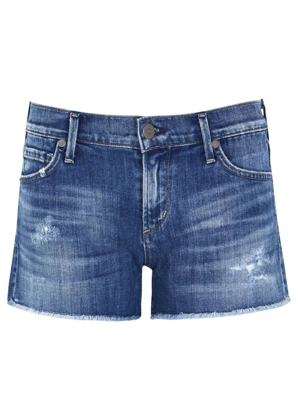 Blue Distressed Denim Shorts - pattern: plain; waist: low rise; pocket detail: traditional 5 pocket; predominant colour: royal blue; occasions: casual, holiday; fibres: cotton - mix; texture group: denim; pattern type: fabric; season: s/s 2014; style: denim; length: short shorts; fit: slim leg