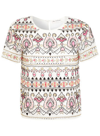 Cream Paisley Embellished Tee - neckline: round neck; occasions: casual, evening, creative work; length: standard; style: top; fibres: polyester/polyamide - 100%; fit: straight cut; back detail: keyhole/peephole detail at back; predominant colour: multicoloured; sleeve length: short sleeve; sleeve style: standard; pattern type: fabric; pattern size: standard; pattern: patterned/print; texture group: other - light to midweight; embellishment: beading; trends: summer sparkle, world traveller; season: s/s 2014; multicoloured: multicoloured