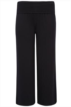 Black Turn Down Waist Wide Leg Jersey Trousers - length: standard; pattern: plain; style: tracksuit pants; waist detail: wide waistband/cummerbund; waist: high rise; predominant colour: black; occasions: casual; fibres: viscose/rayon - stretch; fit: wide leg; pattern type: fabric; texture group: jersey - stretchy/drapey; season: s/s 2014