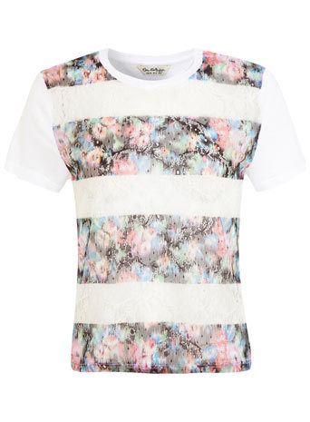 Floral Print Lace Tee - style: t-shirt; predominant colour: ivory/cream; secondary colour: mid grey; occasions: casual, creative work; length: standard; fibres: nylon - mix; fit: body skimming; neckline: crew; sleeve length: short sleeve; sleeve style: standard; pattern type: fabric; pattern size: light/subtle; pattern: florals; texture group: jersey - stretchy/drapey; embellishment: lace; trends: lace; season: s/s 2014