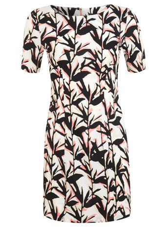 Petites Leaf Print Tea Dress - style: shift; neckline: round neck; predominant colour: ivory/cream; secondary colour: black; occasions: casual, evening, creative work; length: just above the knee; fit: soft a-line; fibres: polyester/polyamide - 100%; sleeve length: short sleeve; sleeve style: standard; texture group: cotton feel fabrics; pattern type: fabric; pattern size: standard; pattern: patterned/print; season: s/s 2014