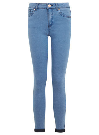 Petites Blue Denim Jeans - style: skinny leg; length: standard; pattern: plain; pocket detail: traditional 5 pocket; waist: mid/regular rise; predominant colour: denim; occasions: casual; fibres: cotton - mix; jeans & bottoms detail: turn ups; texture group: denim; pattern type: fabric; season: s/s 2014