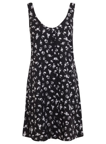 Black Floral Vest Dress - sleeve style: wide vest straps; fit: loose; style: vest; bust detail: buttons at bust (in middle at breastbone)/zip detail at bust; secondary colour: white; predominant colour: black; occasions: casual; length: just above the knee; neckline: scoop; fibres: viscose/rayon - 100%; sleeve length: sleeveless; texture group: cotton feel fabrics; pattern size: standard; pattern: florals; season: s/s 2014