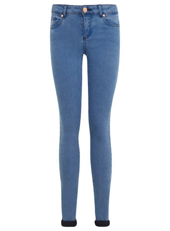Pretty Blue Ultra Soft - style: skinny leg; length: standard; pattern: plain; pocket detail: traditional 5 pocket; waist: mid/regular rise; predominant colour: denim; occasions: casual, creative work; fibres: cotton - mix; jeans detail: dark wash; jeans & bottoms detail: turn ups; texture group: denim; pattern type: fabric; season: s/s 2014