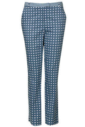Tall Mix And Match Tile Print Cigarette Trousers - length: standard; pattern: plain; style: capri; pocket detail: small back pockets, pockets at the sides; waist: mid/regular rise; secondary colour: white; predominant colour: denim; occasions: casual, evening, creative work; fibres: cotton - stretch; fit: slim leg; pattern type: fabric; texture group: woven light midweight; trends: art-party prints; season: s/s 2014; pattern size: standard (bottom)