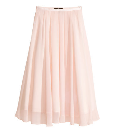 Calf Length Skirt - length: calf length; pattern: plain; fit: loose/voluminous; style: pleated; waist: high rise; predominant colour: blush; occasions: evening, occasion, creative work; fibres: polyester/polyamide - 100%; hip detail: subtle/flattering hip detail; waist detail: feature waist detail; texture group: sheer fabrics/chiffon/organza etc.; pattern type: fabric; trends: sorbet shades; season: s/s 2014