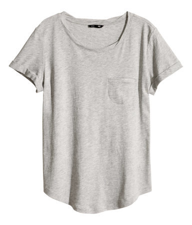Jersey Top - neckline: round neck; pattern: plain; length: below the bottom; style: t-shirt; predominant colour: light grey; occasions: casual; fibres: cotton - mix; fit: straight cut; sleeve length: short sleeve; sleeve style: standard; pattern type: fabric; texture group: jersey - stretchy/drapey; season: s/s 2014