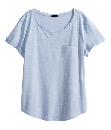 Jersey Top - pattern: plain; style: t-shirt; predominant colour: pale blue; occasions: casual, holiday; length: standard; neckline: scoop; fibres: cotton - 100%; fit: body skimming; sleeve length: short sleeve; sleeve style: standard; pattern type: fabric; texture group: jersey - stretchy/drapey; trends: sorbet shades; season: s/s 2014