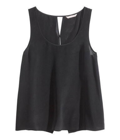 Silk Top - sleeve style: standard vest straps/shoulder straps; pattern: plain; style: vest top; predominant colour: black; occasions: casual, evening, creative work; length: standard; neckline: scoop; fibres: silk - 100%; fit: body skimming; sleeve length: sleeveless; texture group: silky - light; pattern type: fabric; season: s/s 2014