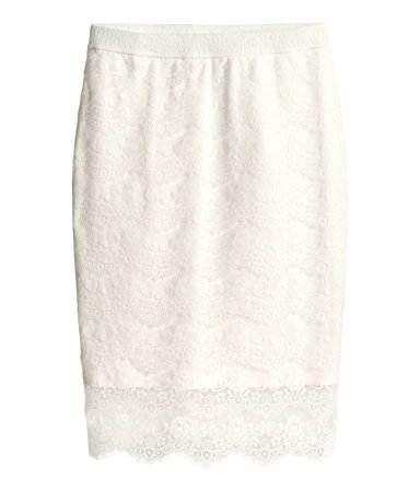 + Lace Skirt - style: pencil; fit: tailored/fitted; waist: high rise; predominant colour: ivory/cream; occasions: evening, occasion; length: on the knee; fibres: polyester/polyamide - 100%; texture group: lace; pattern type: fabric; pattern: patterned/print; trends: lace; season: s/s 2014