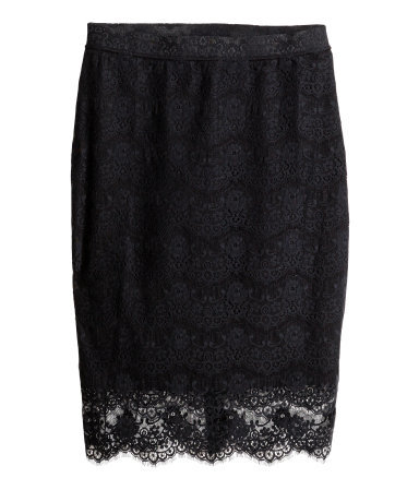 + Lace Skirt - style: pencil; fit: tailored/fitted; waist: mid/regular rise; predominant colour: black; occasions: evening, occasion; length: just above the knee; fibres: polyester/polyamide - 100%; texture group: lace; pattern type: fabric; pattern: patterned/print; trends: lace; season: s/s 2014